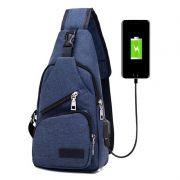 Mini Mochila Bolsa Alça Única Cross Body USB Cadernos Tablet Smartphone Vários Bolsos Azul
