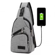 Mini Mochila Bolsa Alça Única Cross Body USB Cadernos Tablet Smartphone Vários Bolsos Cinza