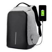 Mochila Anti-furto Cinza Compartimento Para Notebook Laptop Saída USB Carregamento De Dispositivos