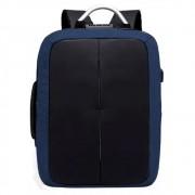 Mochila Anti Furto Preta com Azul Impermeável Cadeado Alças de Metal Notebook USB