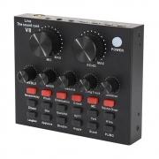 Placa De Som Externo V8 Áudio Usb Microfone Fone De Ouvido