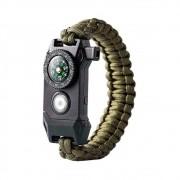 Pulseira Militar de Sobrevivência Multi Função LED SOS Apito Corda de Resgate