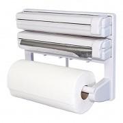Suporte Dispenser 3 em 1 Papel Toalha Alumínio Plástico Filme
