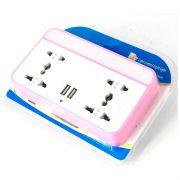 Tomada Dupla Adaptador Multifuncional Universal LED USB Com Suporte de Celular