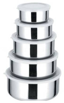 Conjunto Kit de 5 Potes de Aço Inox - Frete Grátis  - Mundo Thata