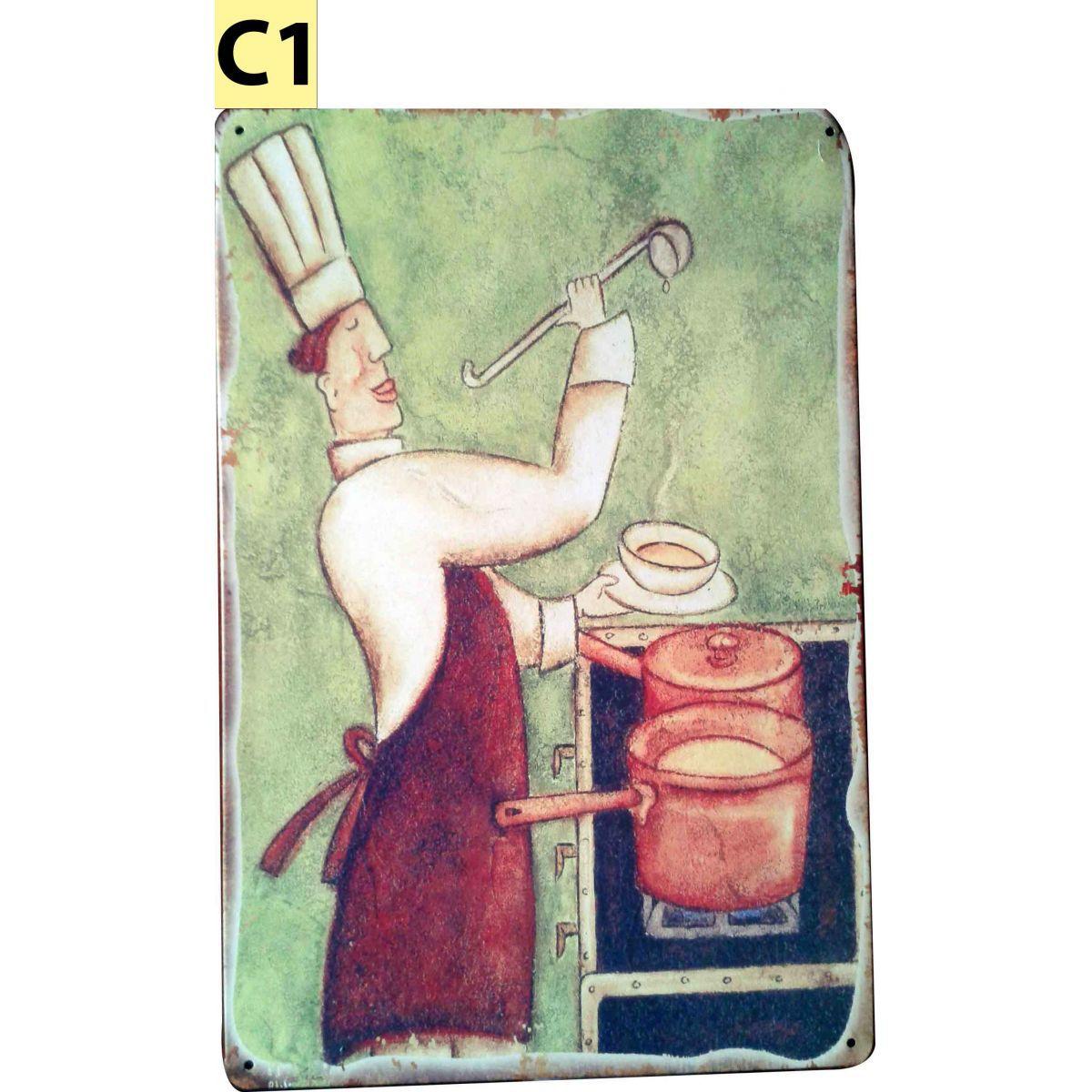 Placa Decorativa Vintage Cozinha Chefe Gourmet - Frete Grátis  - Mundo Thata