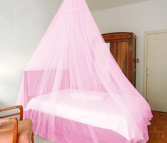 Tela Cortina Mosquiteira Rosa para Camas   - Thata Esportes