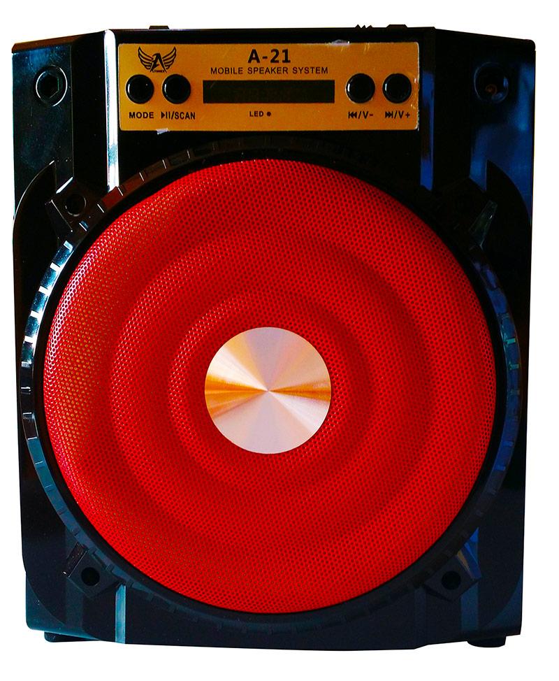 Caixa de Som Recarregável com Bluetooth + Rádio A-21  - Thata Esportes