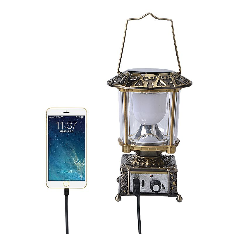 Luminária Retro Solar e Carregador de Celular   - Mundo Thata