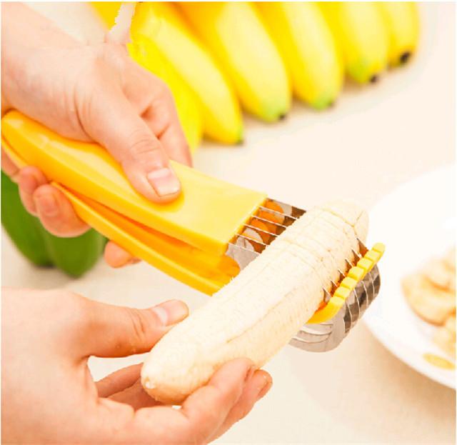 Cortador De Banana Lâmina Inox Fatiador Rodelas Corte Iguais  - Thata Esportes