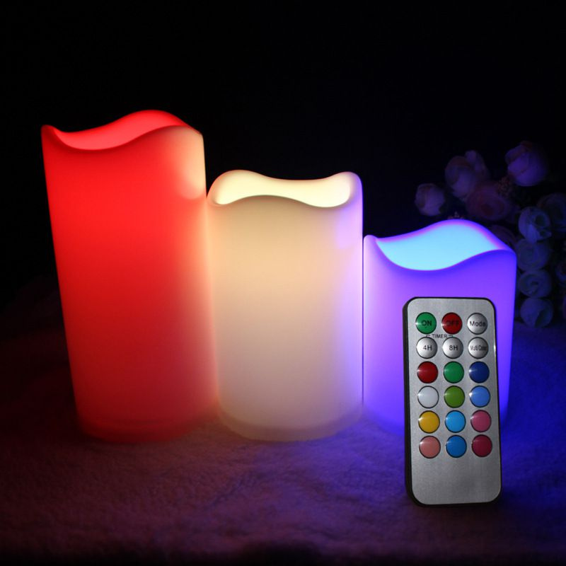 Kit 3 Velas LED Multi Color Controle Remoto  - Mundo Thata