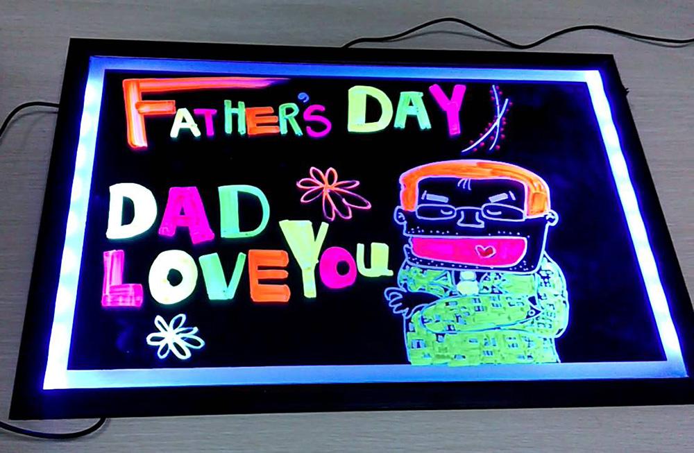 Quadro Painel Luminoso Lousa Quadro LED Neon 22 x 30 cm  - Thata Esportes