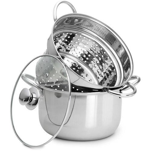 Espagueteira Inox com Tampa de Vidro 22cm - Classic Home  - Mundo Thata