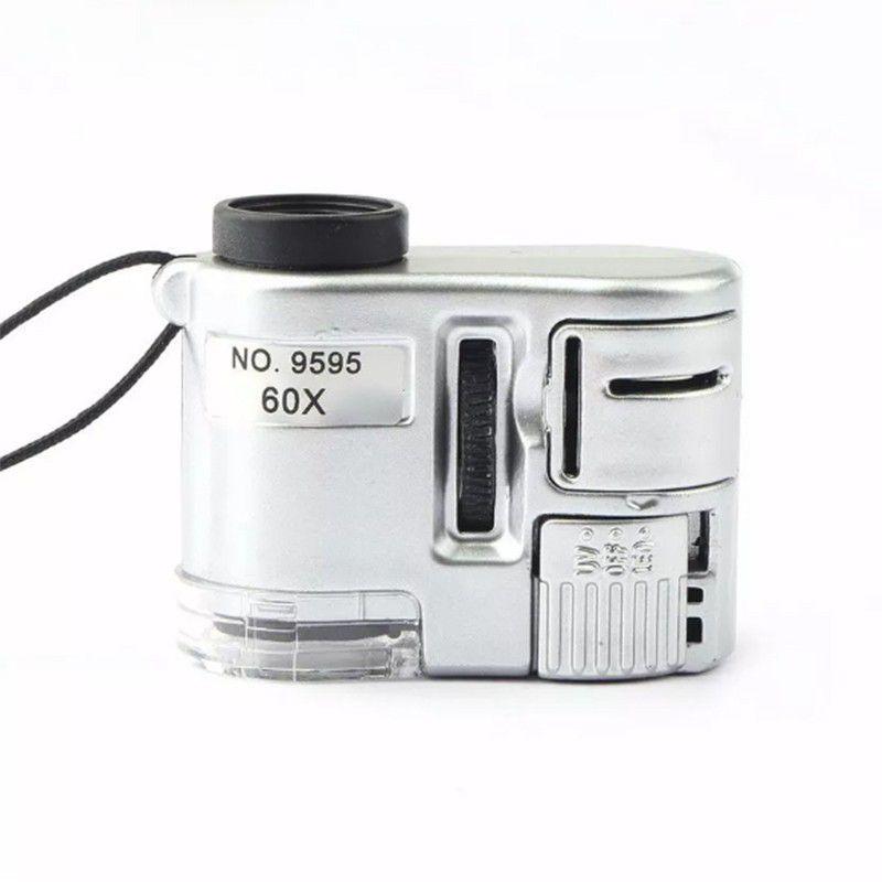 Lupa Microscópio Conta Fios 60x com Luz UV, LED e Clip para Celular.  - Thata Esportes
