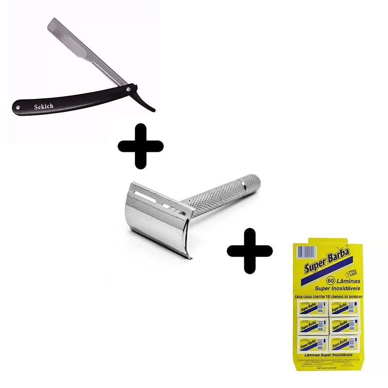 Kit Navalhete Profissional + Aparelho de Barbear + Cartela 60 Lâminas Inox  - Thata Esportes