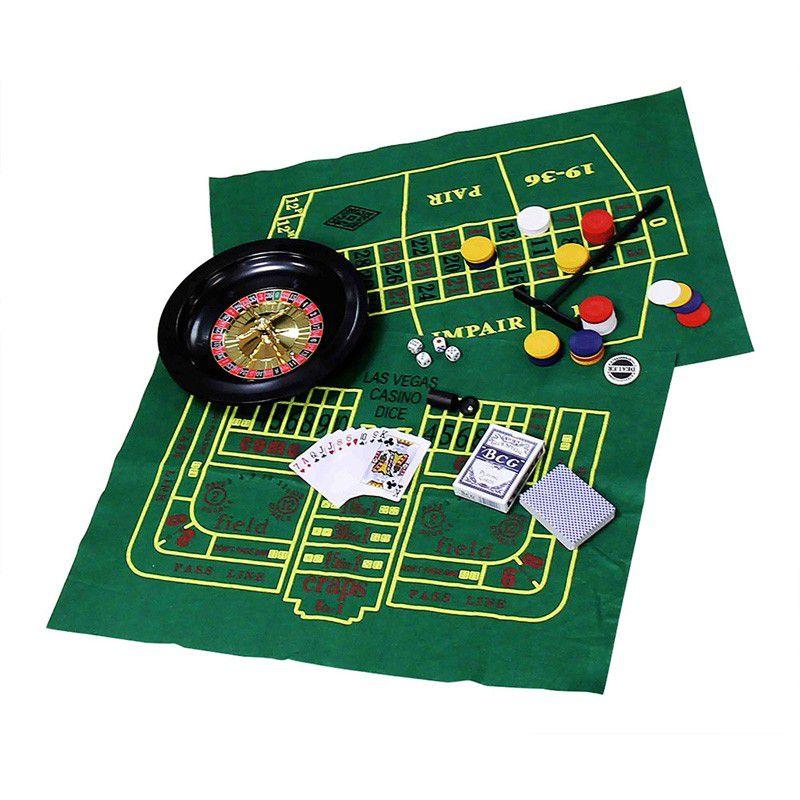 Kit com 5 Jogos Roleta Poker Cartas Dados Blackjack  - Thata Esportes