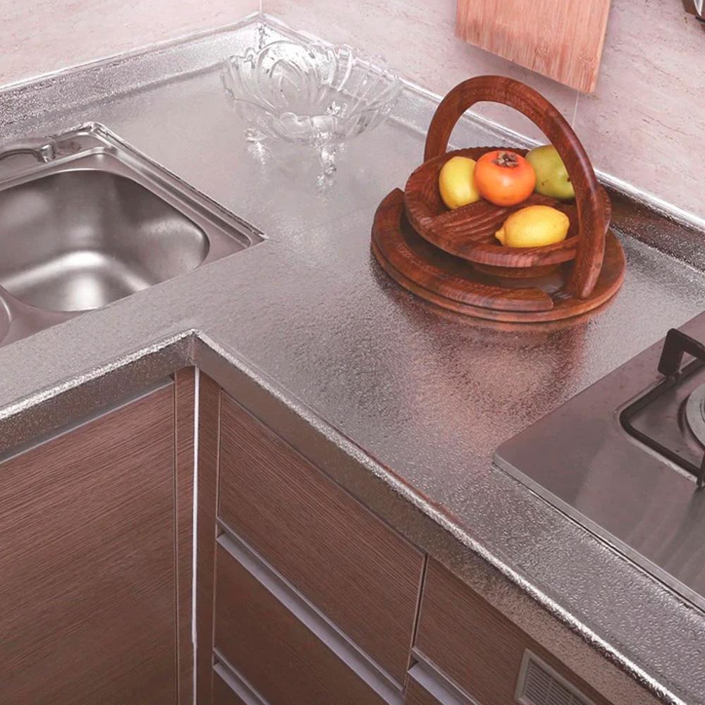 Autoadesivo Alumínio para Cozinha Anti Óleo e Sujeira A prova d´água 2M Com Textura   - Mundo Thata