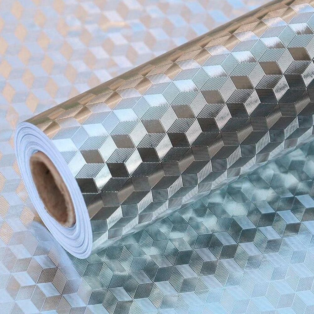 Autoadesivo Alumínio para Cozinha Anti Óleo e Sujeira A prova d´água 5M Liso  - Mundo Thata