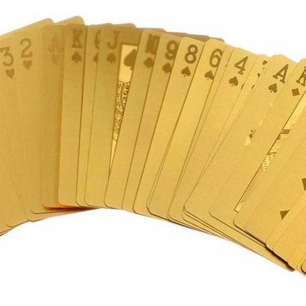 Baralho Dourado Ouro 24k Prova de Água Poker Truco Cartas Jogos  - Mundo Thata