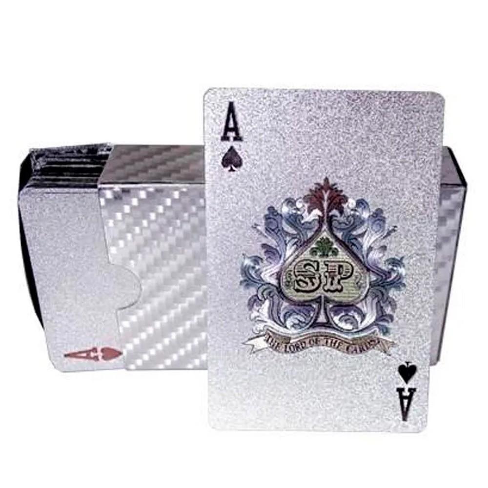 Baralho Prateado a Prova de Água Poker Truco Cartas Jogos  - Mundo Thata