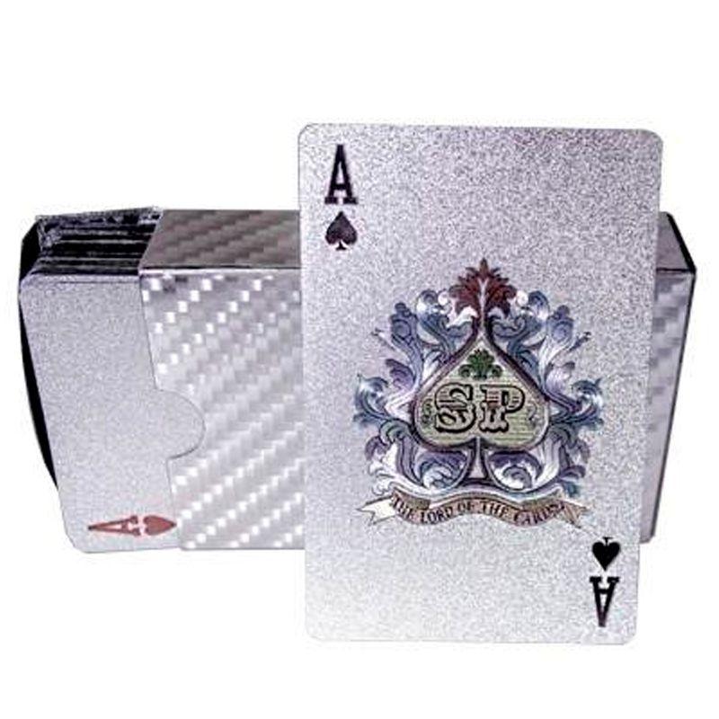 Baralho Prateado a Prova de Água Poker Truco Cartas Jogos  - Thata Esportes