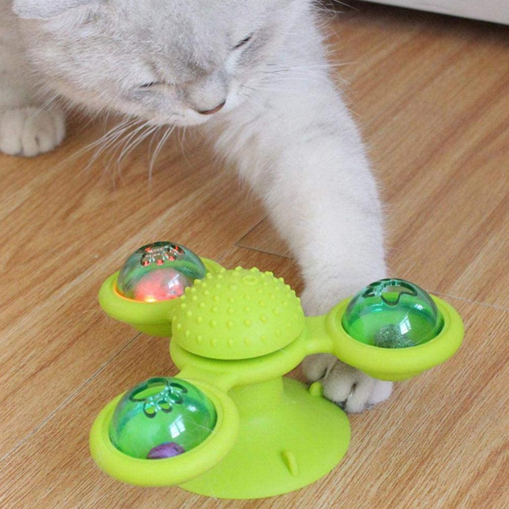 Brinquedo Gira-Gira Moinho de Vento com Catnip Guizos e Leds Para Gato  - Mundo Thata
