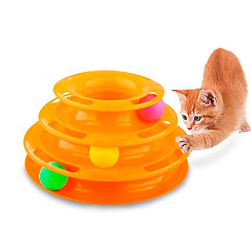 Brinquedo Interativo Torre de Trilhos Para Gatos Bola 3 Níveis  - Thata Esportes
