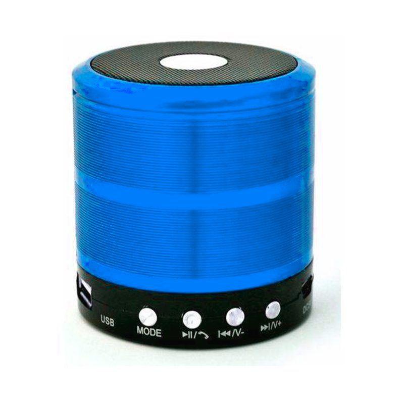 Caixa de Som Bluetooth Recarregável Mini Speaker Portátil USB Micro SD Auxiliar WS-887 Azul  - Thata Esportes