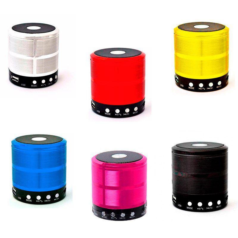 Caixa de Som Bluetooth Recarregável Mini Speaker Portátil USB Micro SD Auxiliar WS-887 Rosa  - Thata Esportes