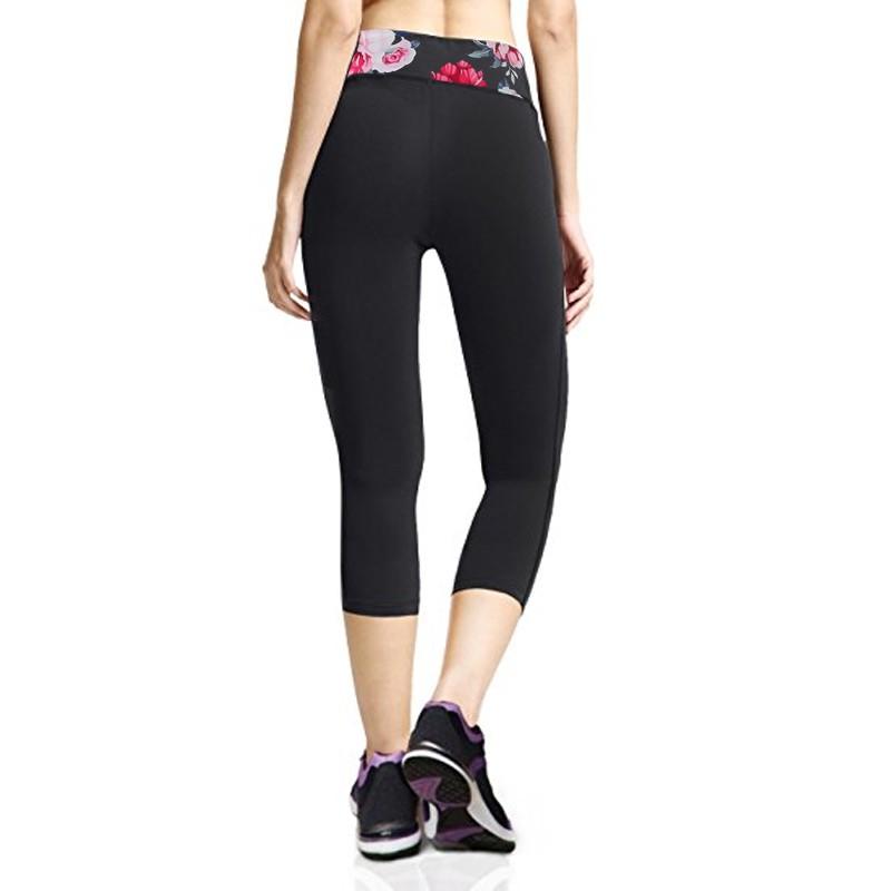 Calça Legging Hot Shapers Exercícios Preto Detalhes Flores  - Thata Esportes