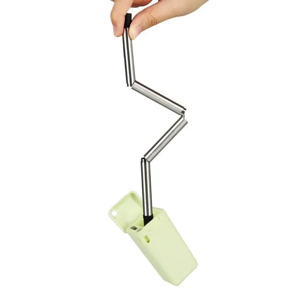 Canudo Reutilizável Dobrável Portátil Compacto Ecológico Aço Inox Silicone Escova de Limpeza  - Mundo Thata