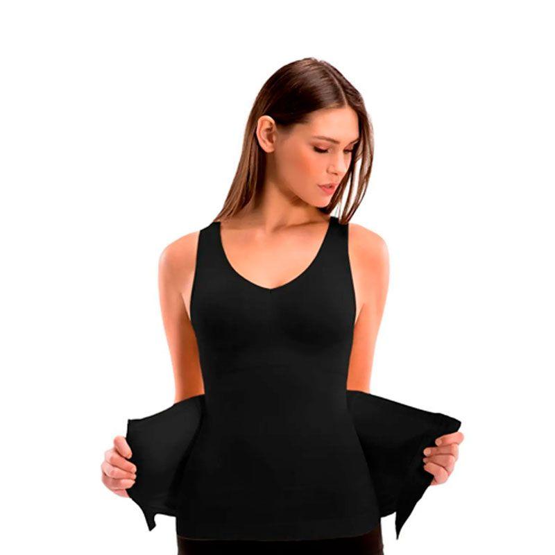 Cinta Camiseta Modeladora Redutora Slim Comfy Preta  - Mundo Thata