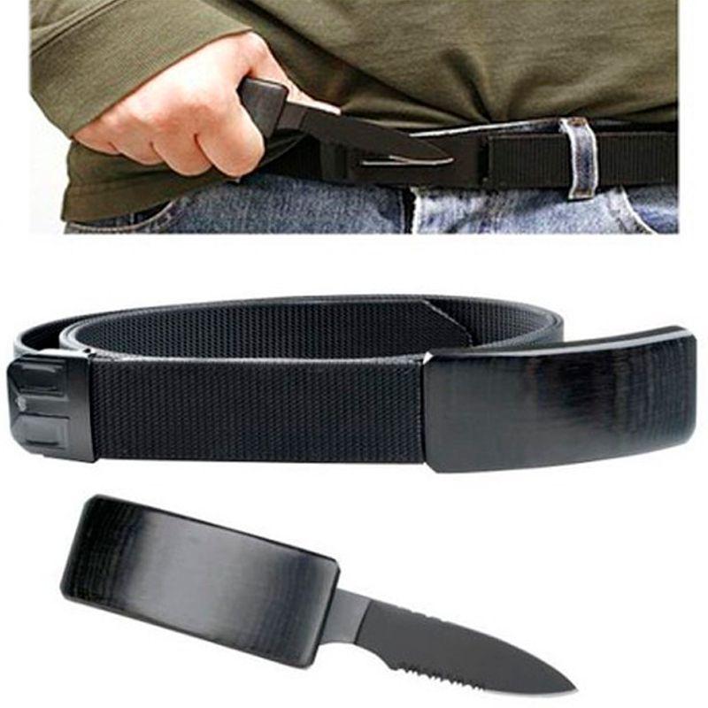 Cinto com Faca Canivete Oculta na Fivela Belt Knife  - Thata Esportes