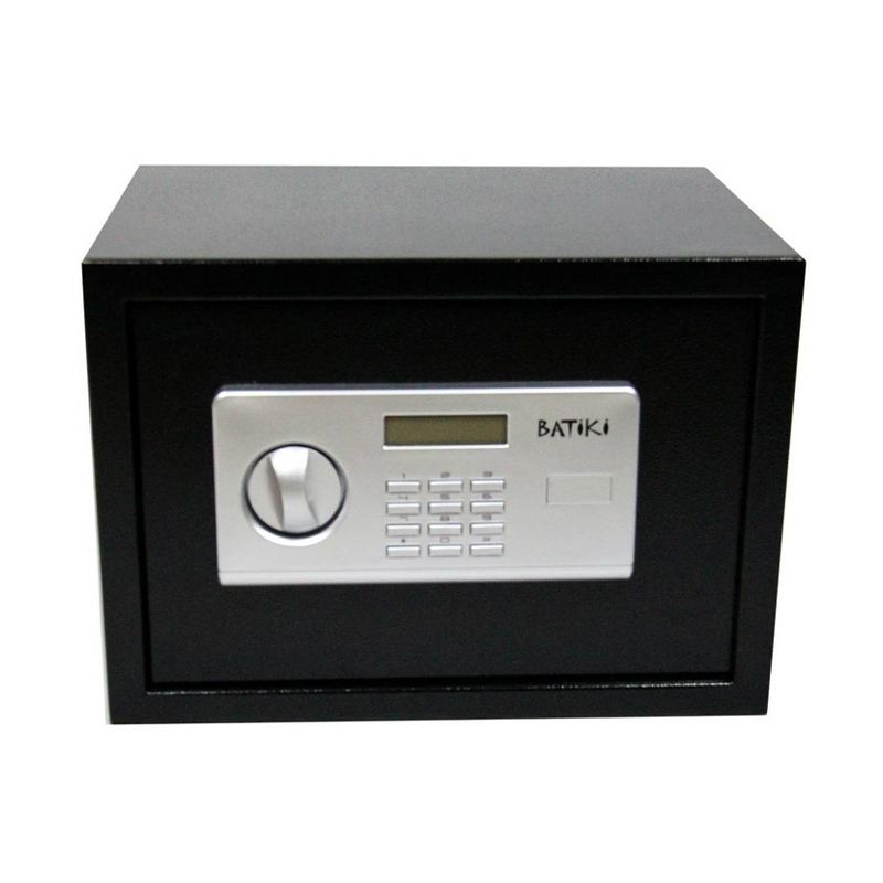 Cofre Digital Eletrônico Aço Carbono Senha Chave Guarda Arma Dinheiro Jóias Documentos S25GF 25x35x25cm Batiki  - Mundo Thata