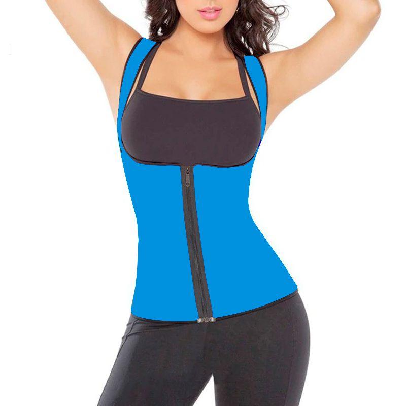 Colete Modelador Cinta Corselet Corset Neoprene Redutor de Medidas Hot Shapers Zíper Azul  - Thata Esportes