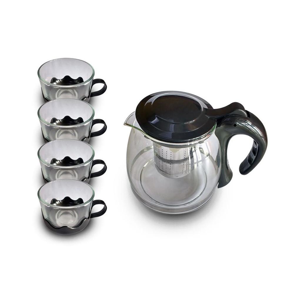 Conjunto Chaleira com Infusor 4 Xícaras de Vidro  - Mundo Thata