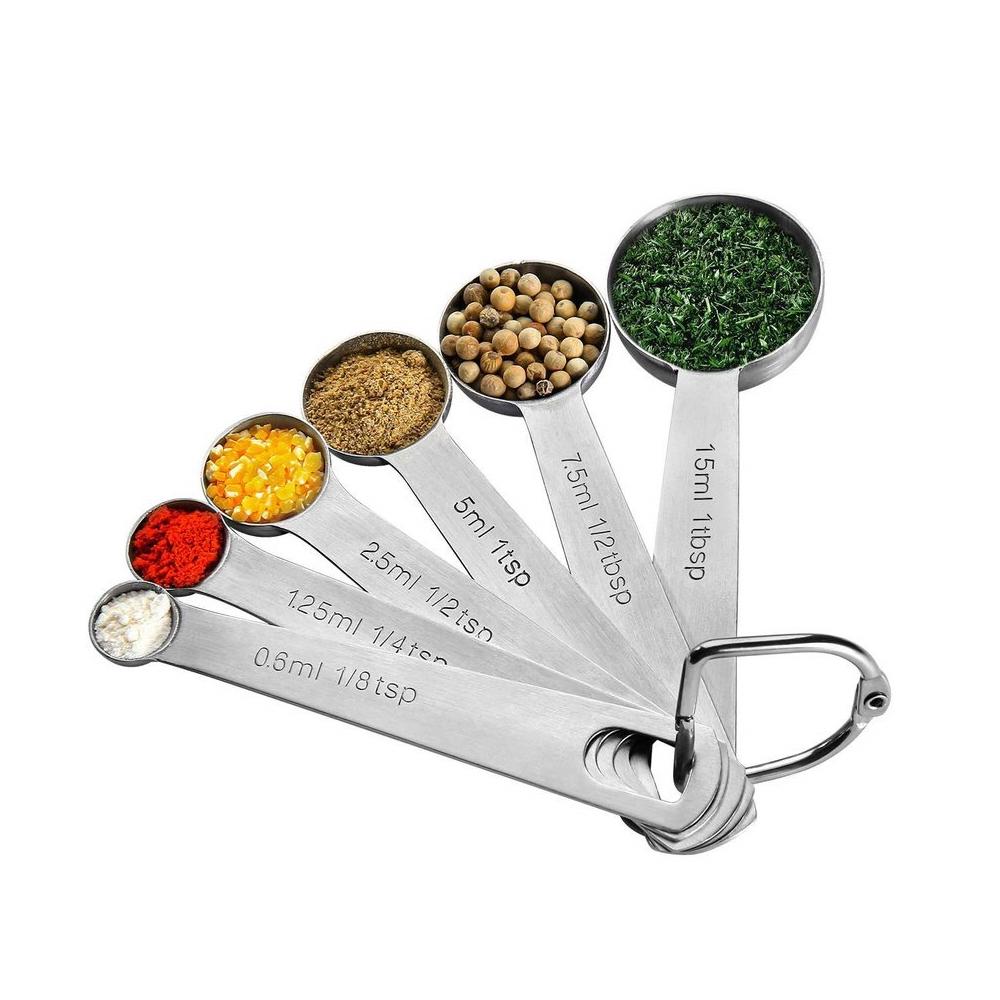Conjunto de Colheres Medidor Culinário 6 Peças em Aço Inoxidável  - Mundo Thata