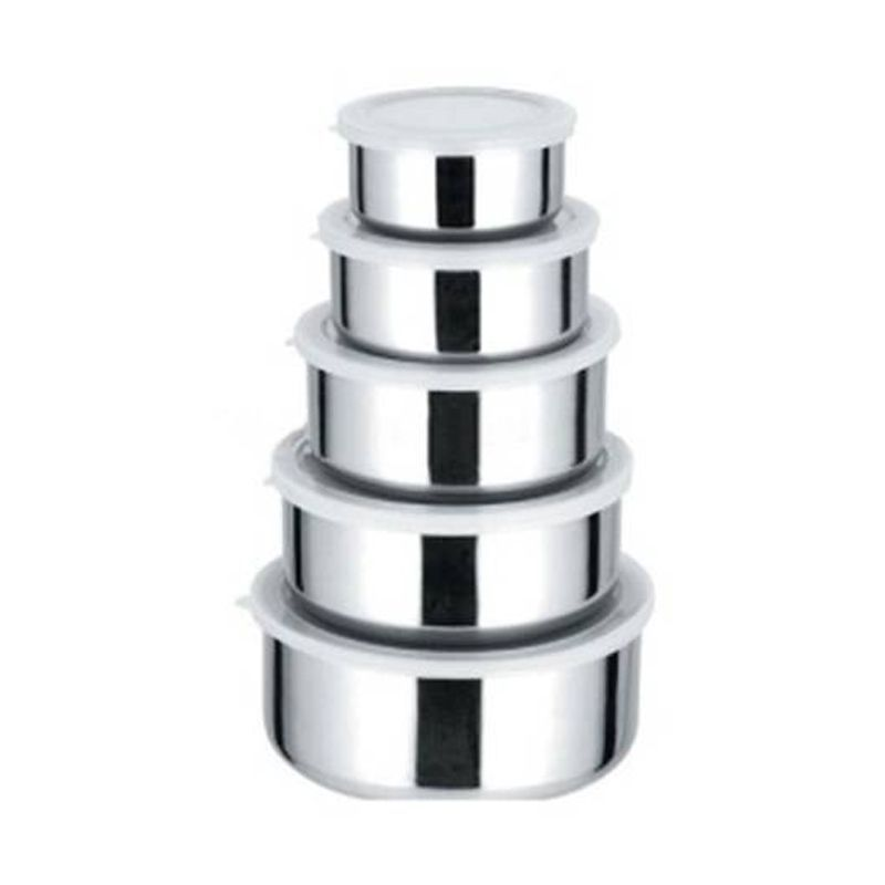 Conjunto Kit 5 Potes Aço Inox  - Mundo Thata