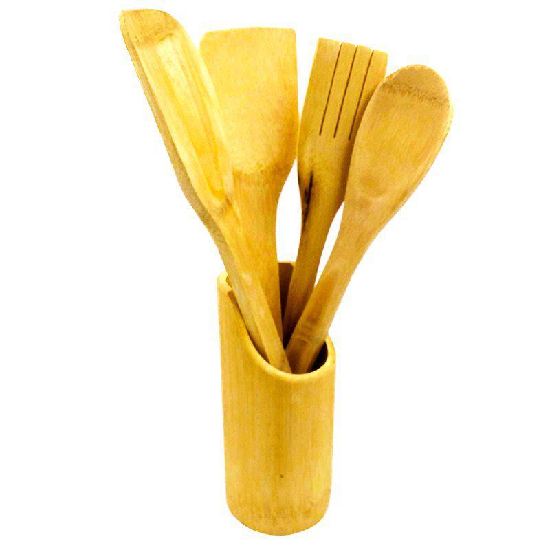 Conjunto Kit 5 Utensílios de Madeira Bambu Espátula Colher Ecológico Cozinha Culinária  - Mundo Thata