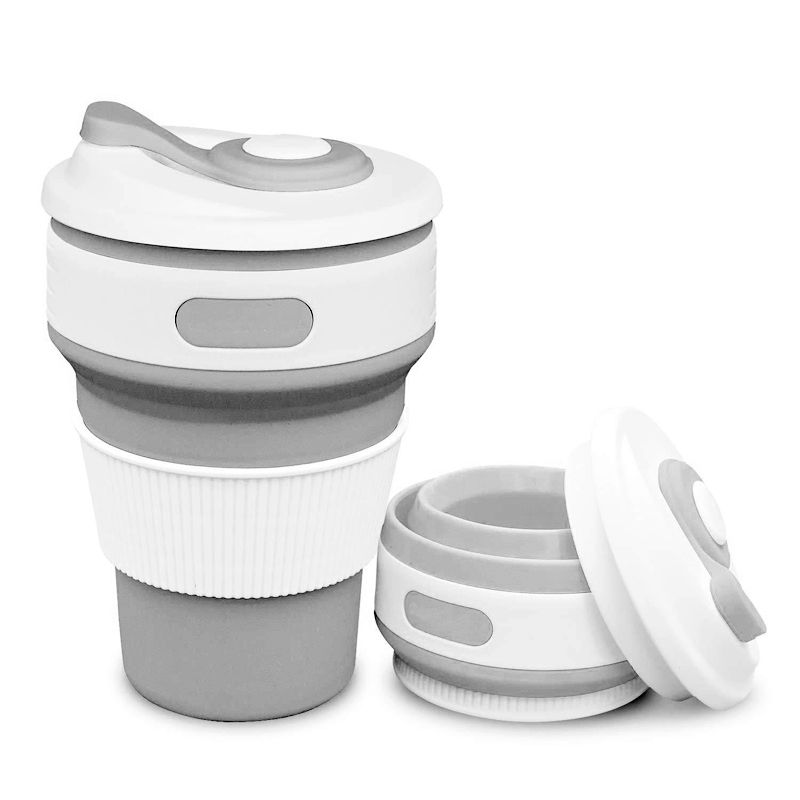 Copo Silicone Retrátil Dobrável Ecológico Reutilizável Quente Frio 350 mL  - Thata Esportes