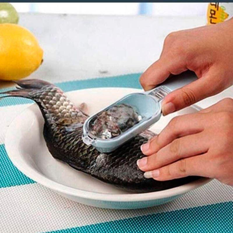 Descamador/Escamador Limpa Peixe com Reservatório Lâmina de Plástico  - Thata Esportes