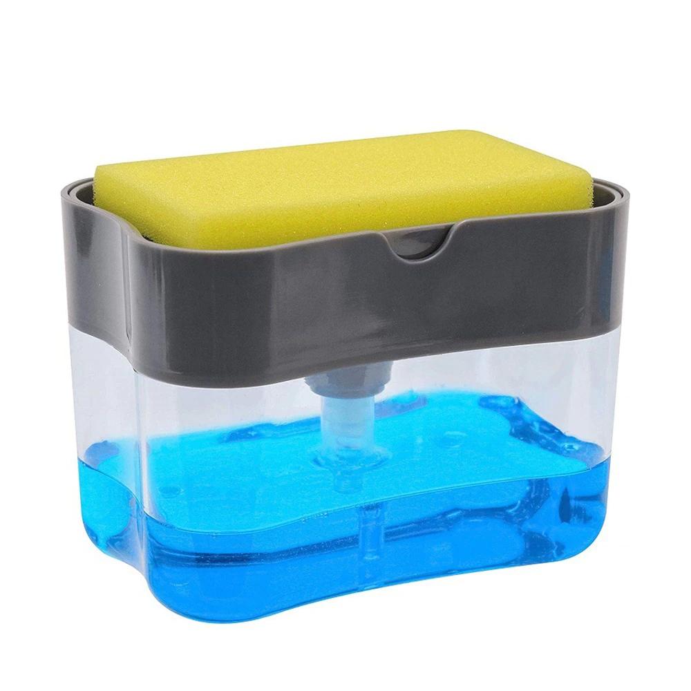 Dispenser de Detergente Para Cozinha Esponja Limpeza Louça Dosador   - Mundo Thata