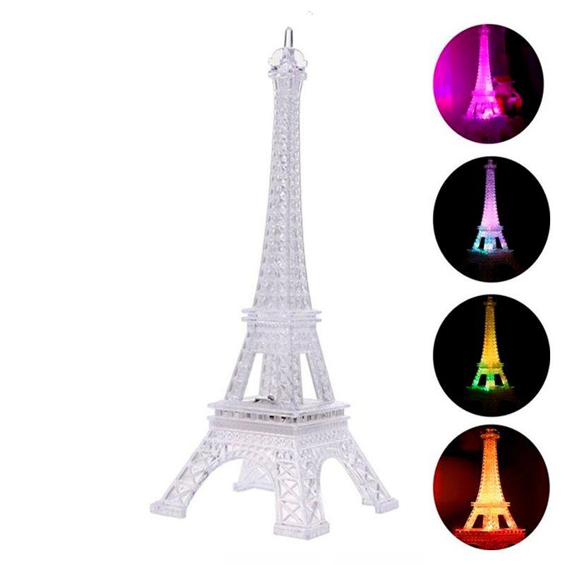 Enfeite Decoração Torre Eiffel Iluminada LED Abajur Luminária 19 cm  - Mundo Thata