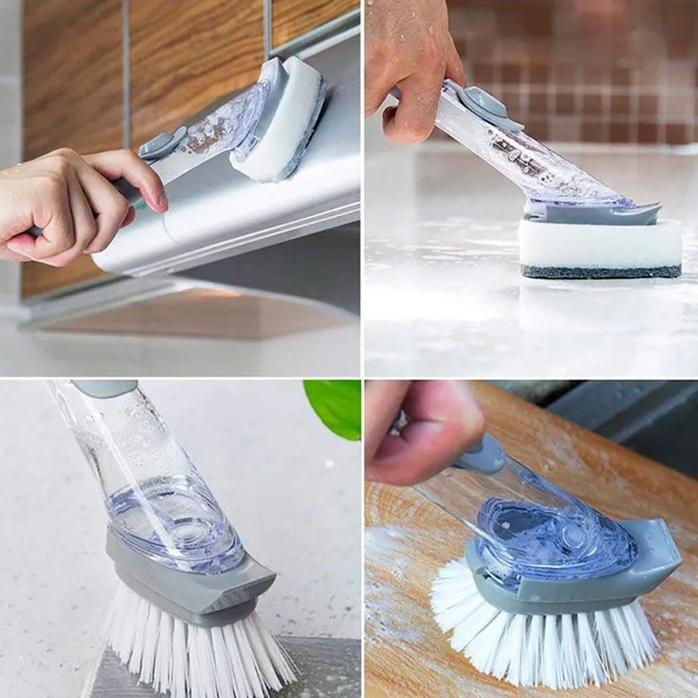 Escova Bucha de Cozinha Com Reservatório de Detergente Limpeza Lava Louça  - Mundo Thata
