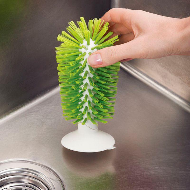 Escova de Pia Lava Copos Taças Com Ventosa Esponja Silicone Lavagem Rápida Casa Cozinha  - Thata Esportes