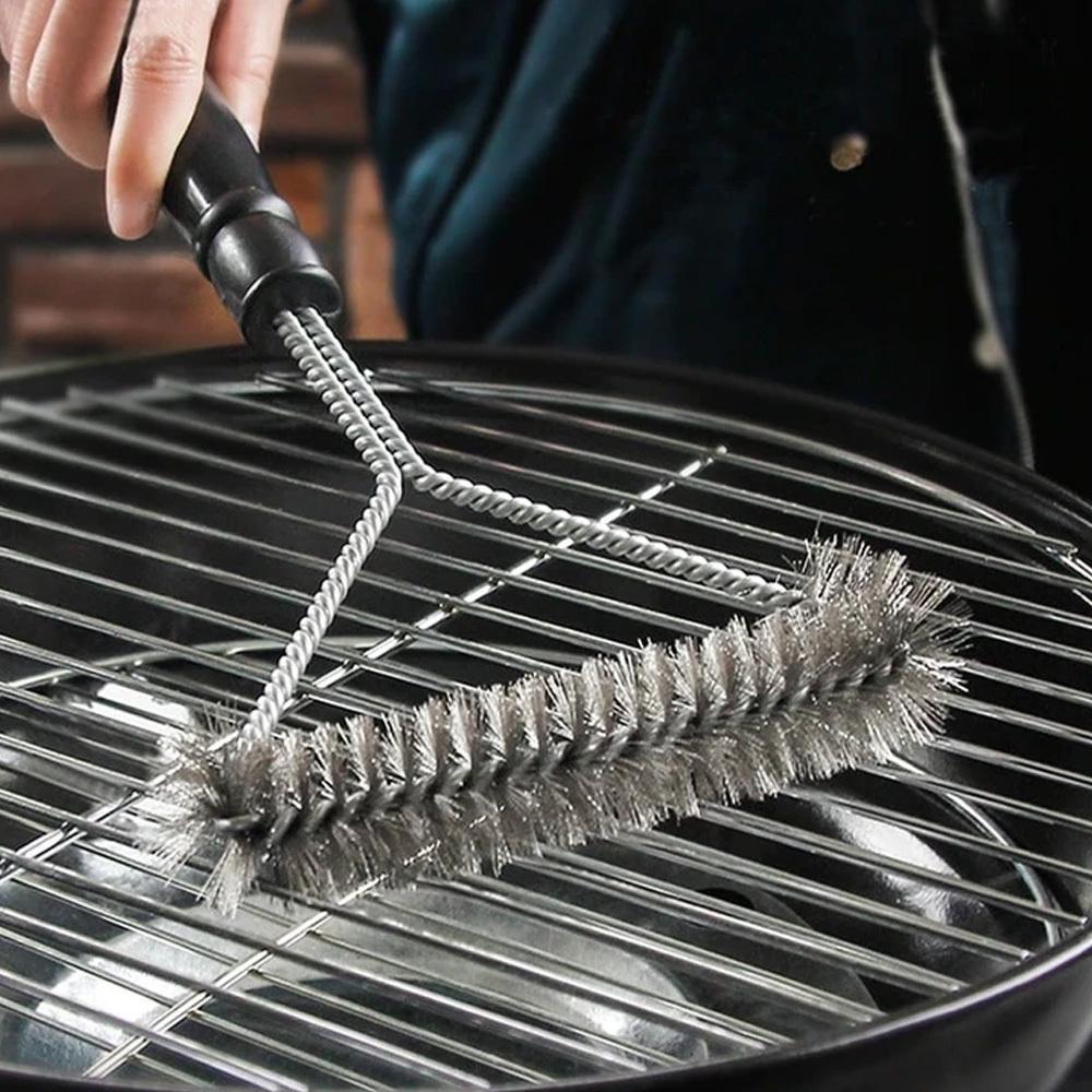Escova Limpa Grelha Churrasqueira 3 Lados com Cerdas de Aço  - Mundo Thata