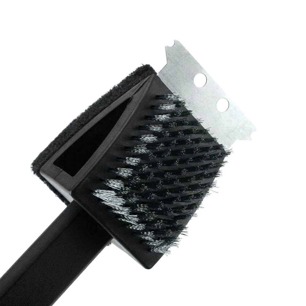 Escova Manual 3 em 1 Limpa Chapa Grelha de Churrasqueira com Cerdas de Aço Inoxidável 39 cm  - Mundo Thata