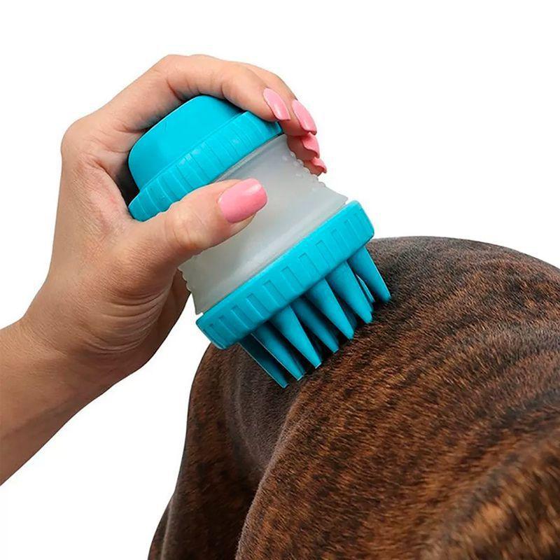 Escova Pente Silicone C/ Dispenser Lava Cachorro Gato Shampoo Água Pet Banho   - Thata Esportes