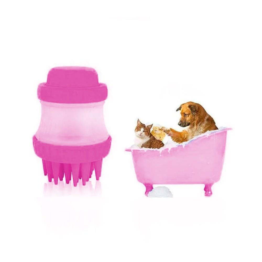 Escova Pente Silicone C/ Dispenser Lava Cachorro Gato Shampoo Água Pet Banho   - Mundo Thata