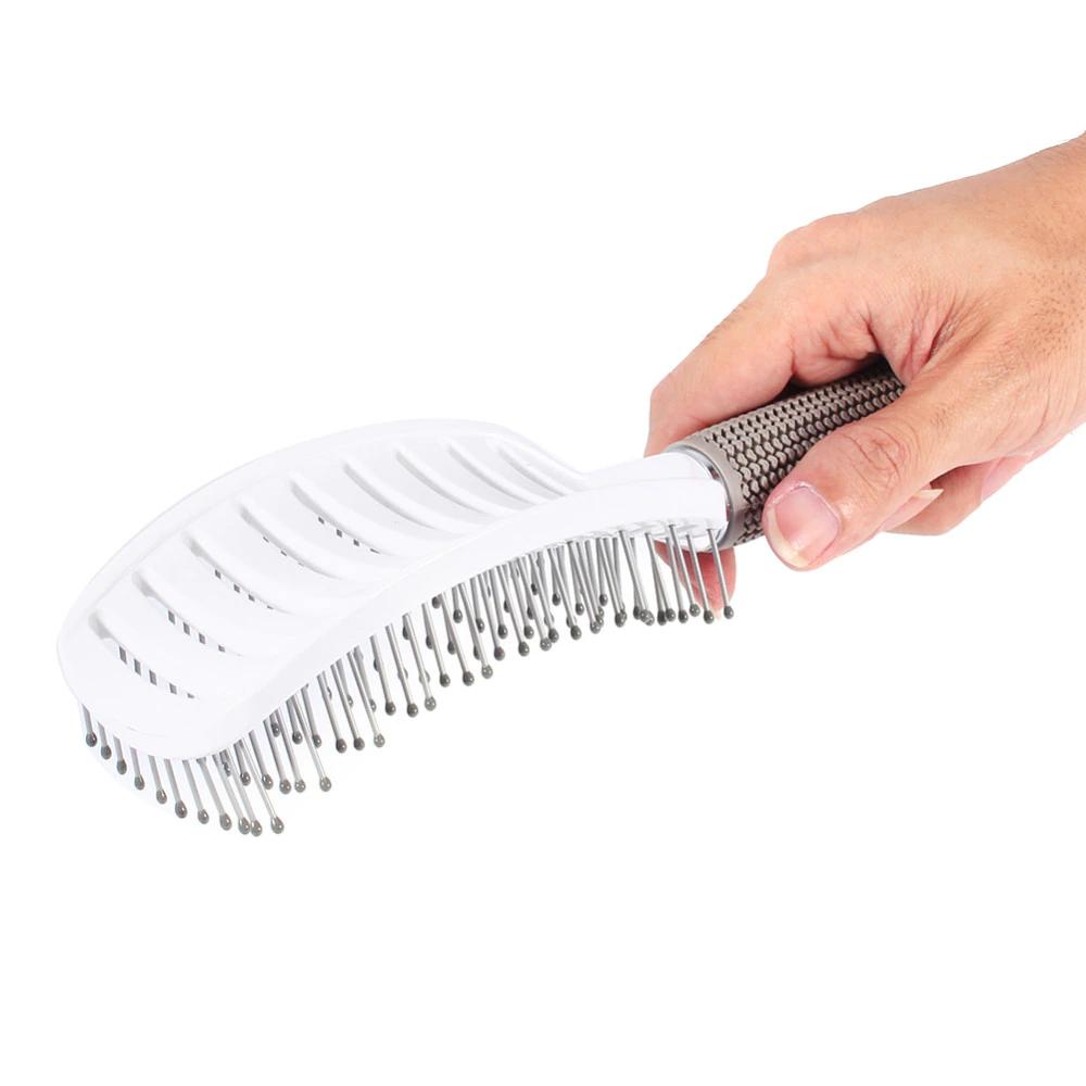 Escova profissional para desembaraçar cabelo raquete/vazada com cerâmica Branca e Curva  - Mundo Thata